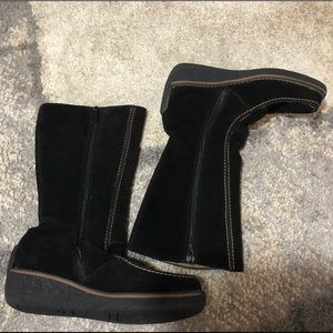 Halogen black suede leather boots